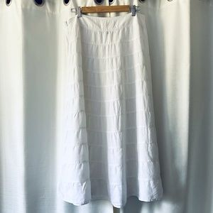 Talbots Tiered Irish Linen White Midi Skirt 12